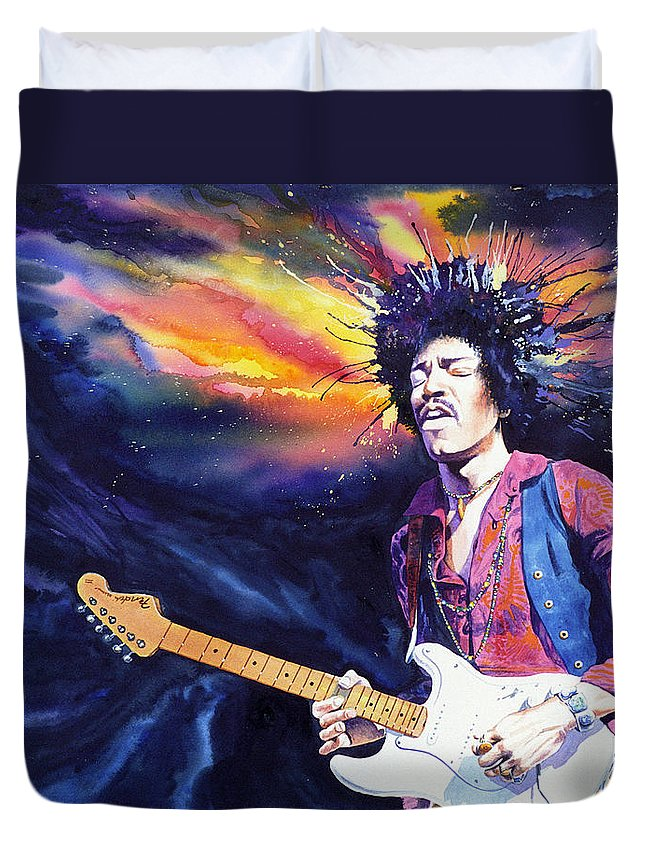 Jimi Hendrix Duvet Cover featuring the painting Hendrix by Ken Meyer jr