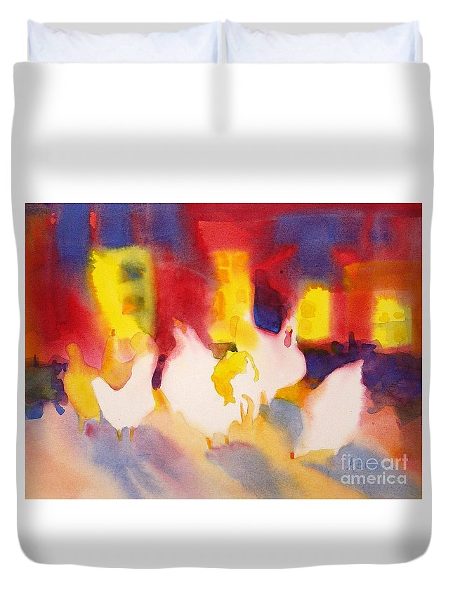 Paintings Duvet Cover featuring the painting Henhouse Serenade by Kathy Braud