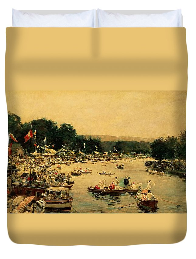 Henley Regatta Duvet Cover featuring the painting Henley Regatta by James Jacques Joseph Tissot