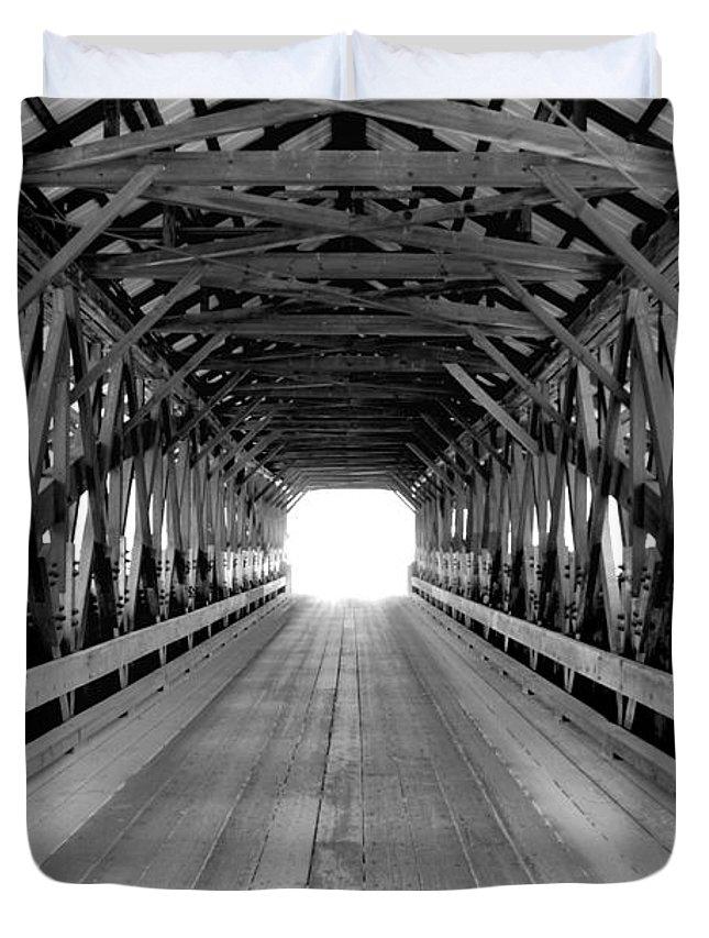 Henniker Duvet Cover featuring the photograph Henniker Covered Bridge by Greg Fortier