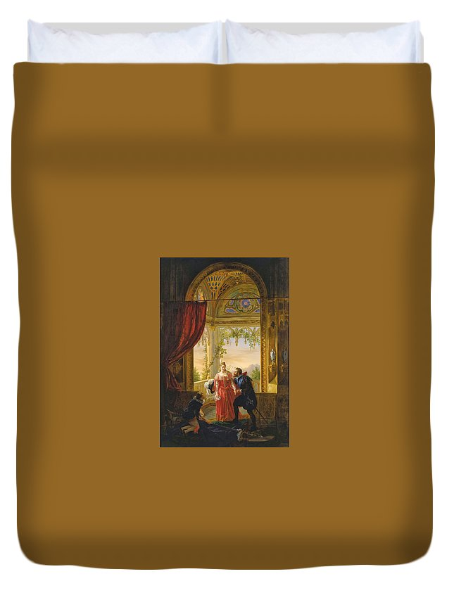 Louis-nicolas Lemasle - Henri Iv And His Mistress 1826 Duvet Cover featuring the painting Henri Iv And His Mistress by MotionAge Designs