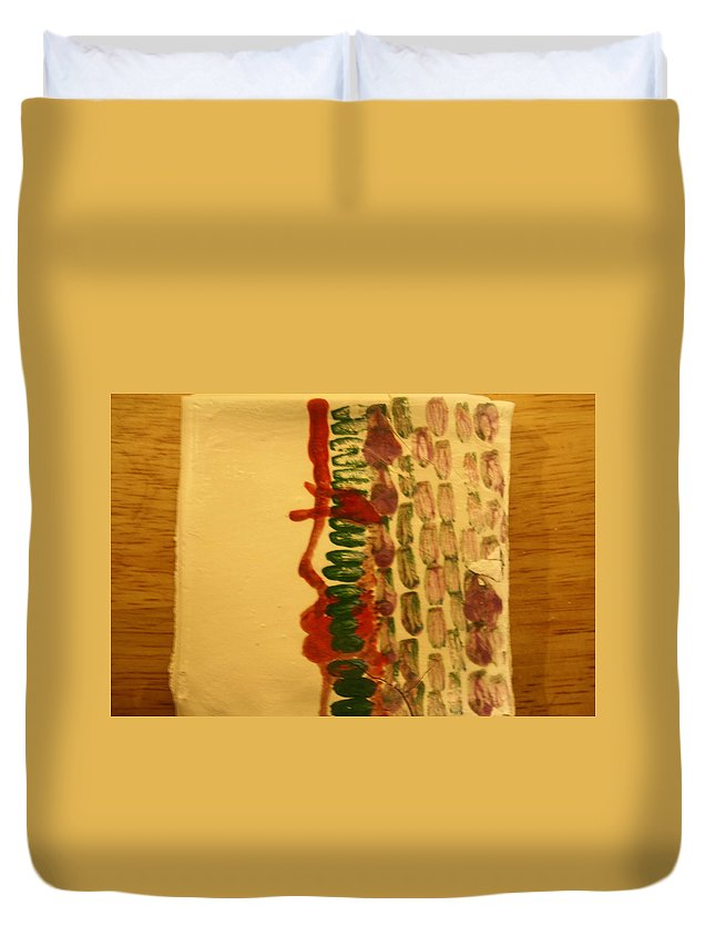 Jesus Duvet Cover featuring the ceramic art Henry - Tile by Gloria Ssali