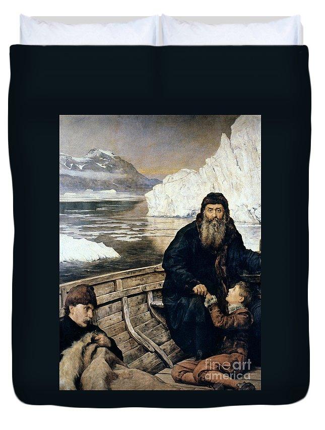 1611 Duvet Cover featuring the painting Henry Hudson And Son by Granger