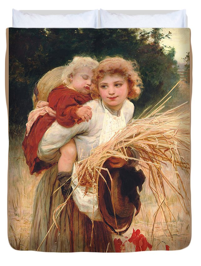 Frederick Morgan Duvet Cover featuring the painting Her Constant Care by Frederick Morgan