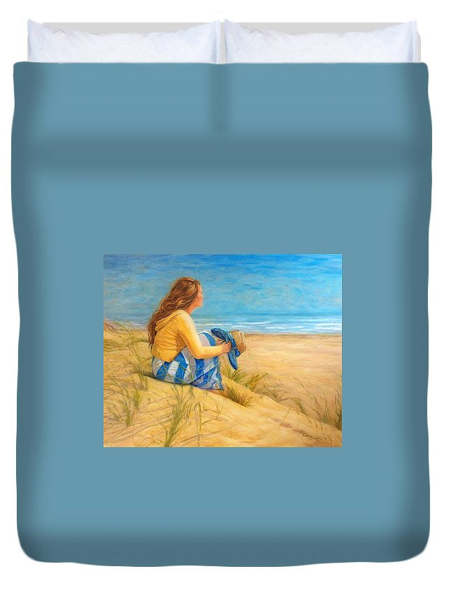 Beach Duvet Cover featuring the painting Her Sanctuary by Elaine Silverman Sturm
