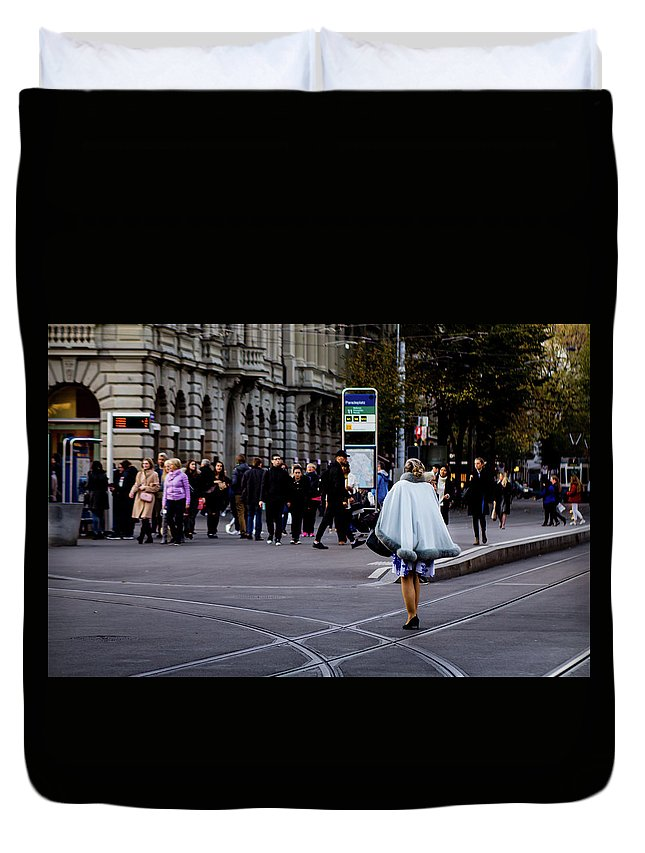 Swiss Duvet Cover featuring the photograph Her With The Cape by Scott DaLuz