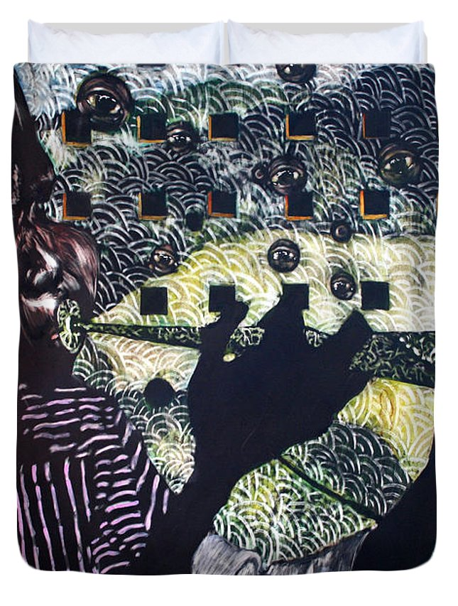 New Age Duvet Cover featuring the mixed media Herald Of A New Age by Chester Elmore