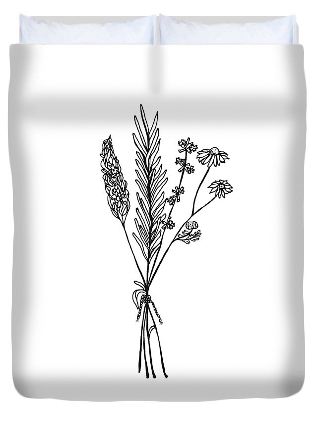 Chamomile Duvet Cover featuring the drawing Herb Bouquet by Jessica Mileur