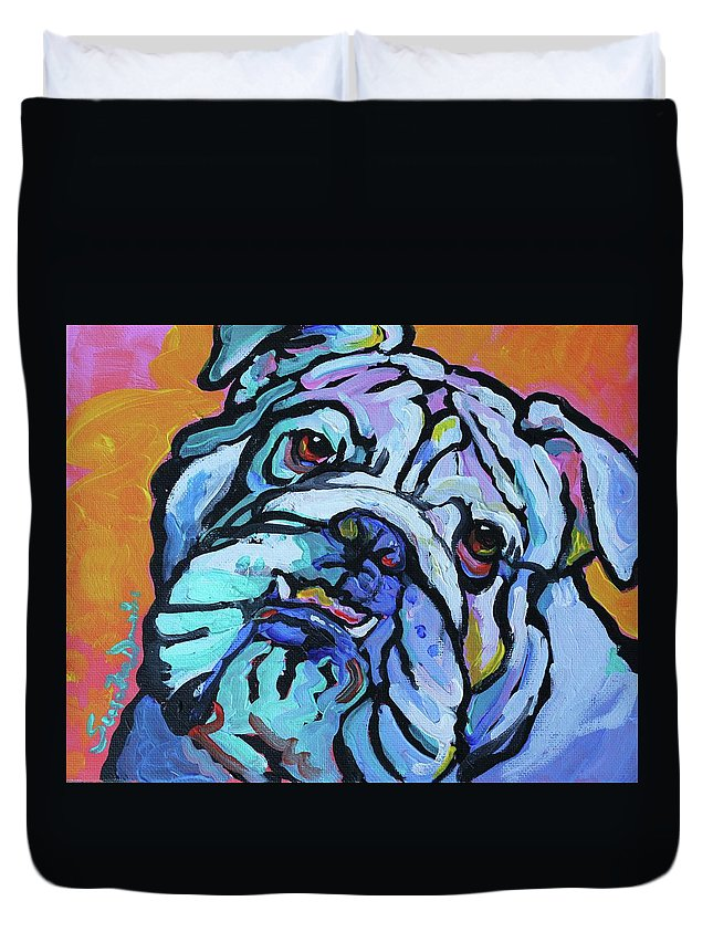 Dog Duvet Cover featuring the painting Herbie by Susan Davies
