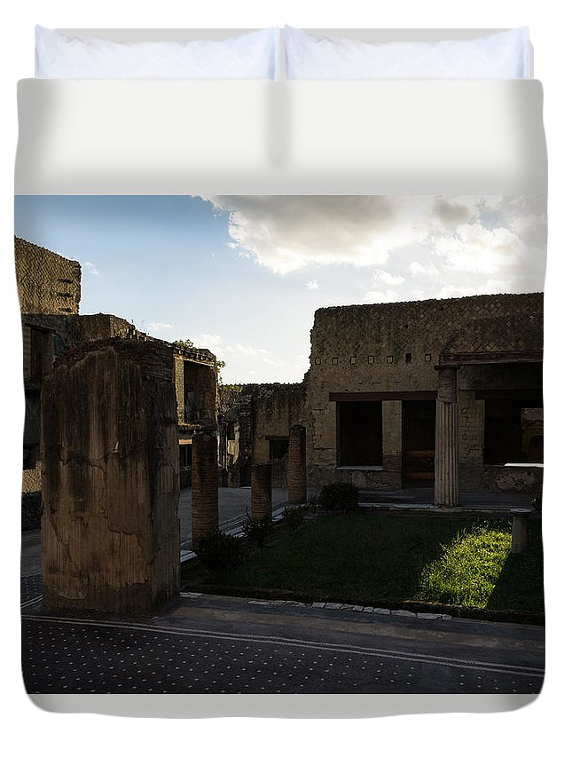 Georgia Mizuleva Duvet Cover featuring the photograph Herculaneum Ruins - Mosaic Tile Streets And Sun Splashes by Georgia Mizuleva