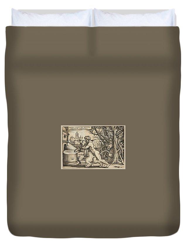 Sebald Beham Duvet Cover featuring the drawing Hercules Killing The Nemean Lion by Sebald Beham