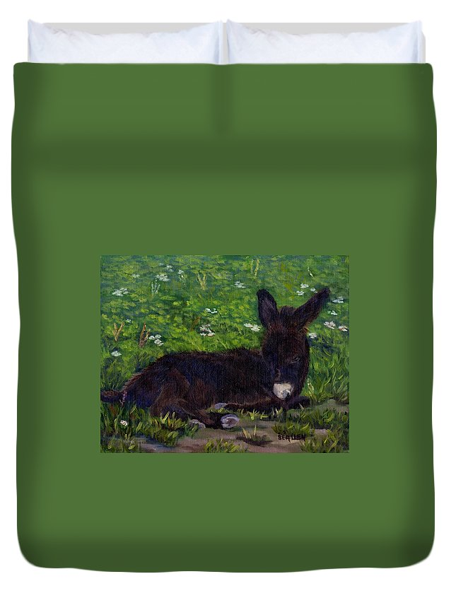 Donkey Duvet Cover featuring the painting Hercules by Sharon E Allen