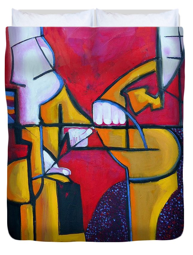 Abstract Duvet Cover featuring the painting Here by Angie Wright