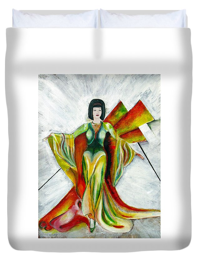 Dress Duvet Cover featuring the painting Here Comes The Sun by Tom Conway