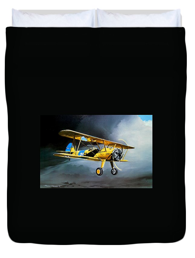 Military Duvet Cover featuring the painting Here Comes The Sun by Marc Stewart