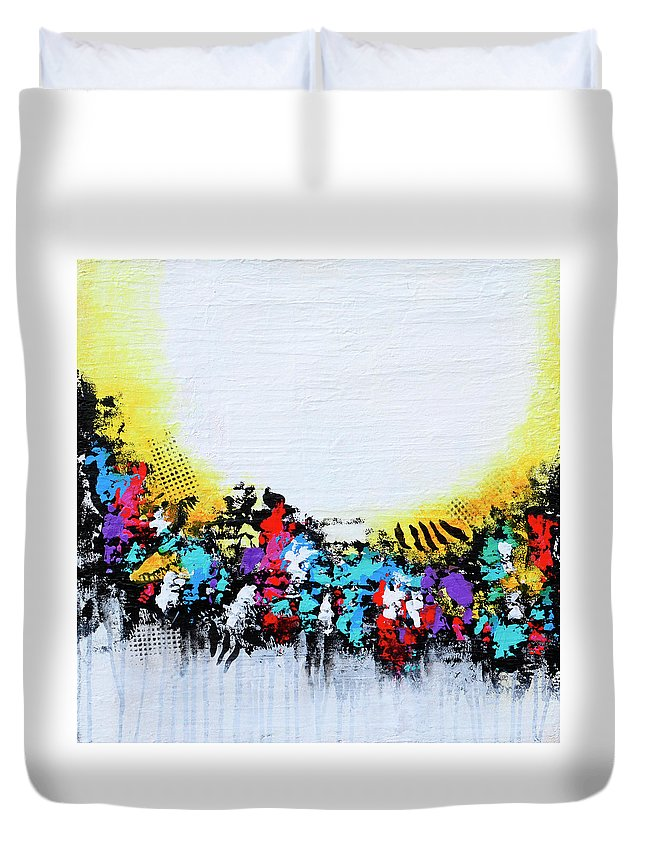 Tropical Duvet Cover featuring the painting Here Comes The Sun by Robin Jorgensen