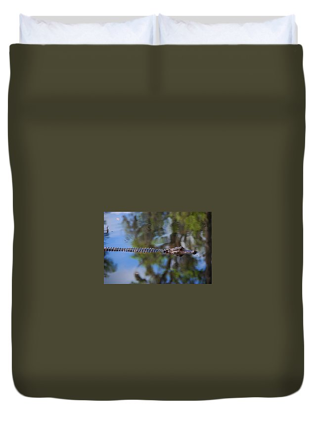 Alligator Duvet Cover featuring the photograph Here He Comes by Susanne Van Hulst