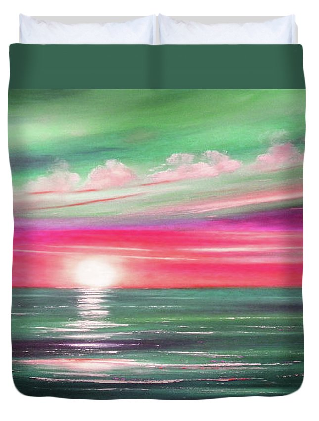 Brown Duvet Cover featuring the painting Here It Goes In Teal And Magenta Panoramic Sunset by Gina De Gorna
