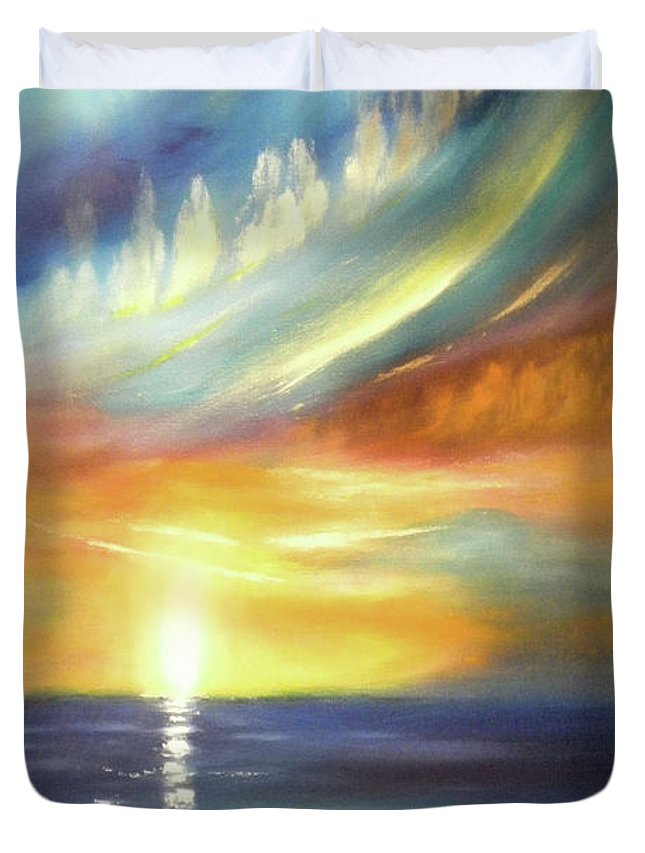 Brown Duvet Cover featuring the painting Here It Goes - Vertical Colorful Sunset by Gina De Gorna