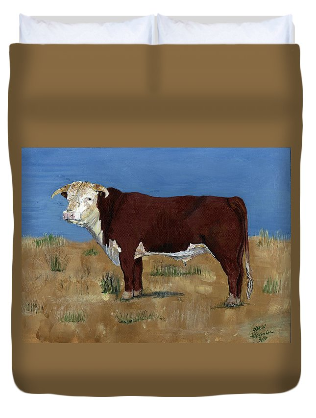 Cow Duvet Cover featuring the painting Hereford by Sara Stevenson