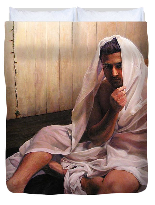 Hermit Duvet Cover featuring the painting Hermit by Joe Velez