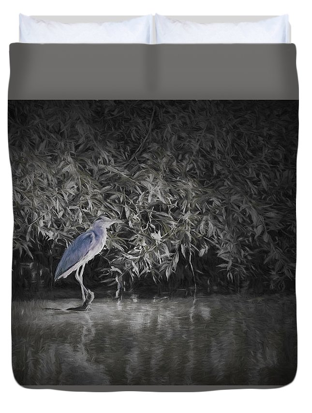 Artistic Duvet Cover featuring the photograph Heron 1 Artistic by Leif Sohlman
