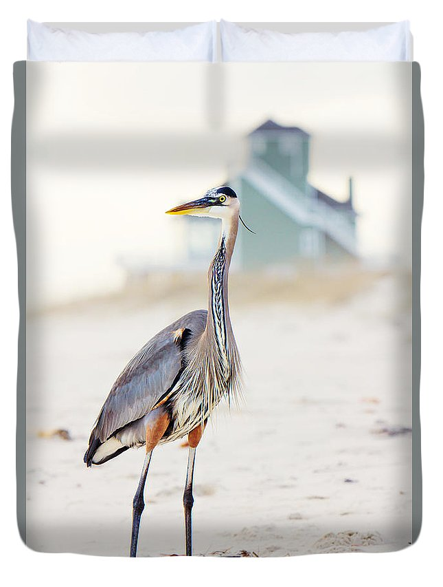 Heron Duvet Cover featuring the photograph Heron And The Beach House by Joan McCool
