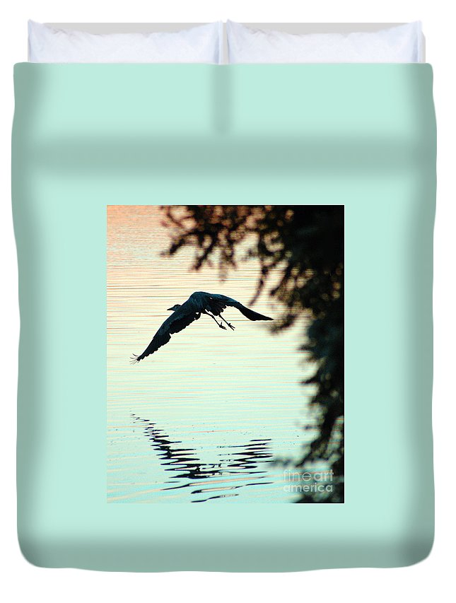 Clay Duvet Cover featuring the photograph Heron At Dusk by Clayton Bruster
