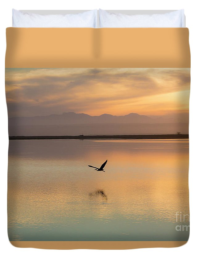 Heron Duvet Cover featuring the photograph Heron at sunset by Sheila Smart Fine Art Photography