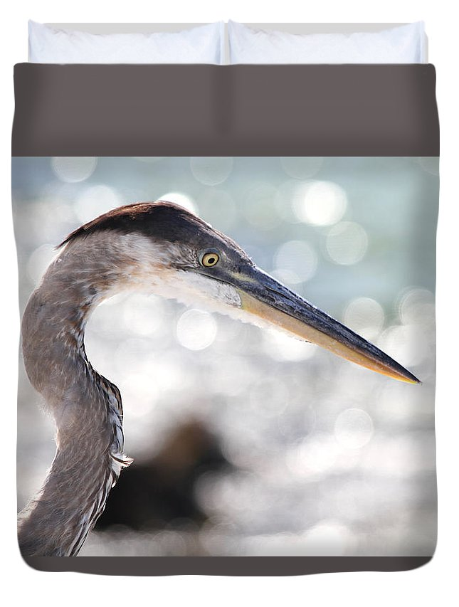 Heron Duvet Cover featuring the photograph Heron Searching by Jim Clark