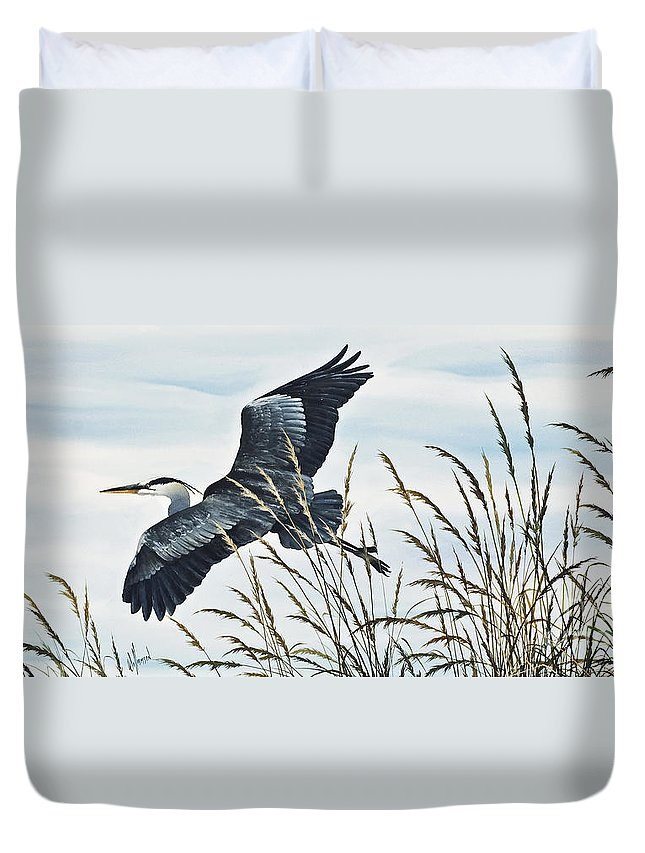 Heron Duvet Cover featuring the painting Herons Flight by James Williamson