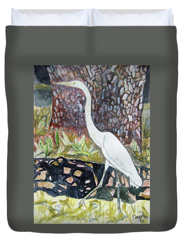 Bird Duvet Cover featuring the painting Herron by Derek Mccrea