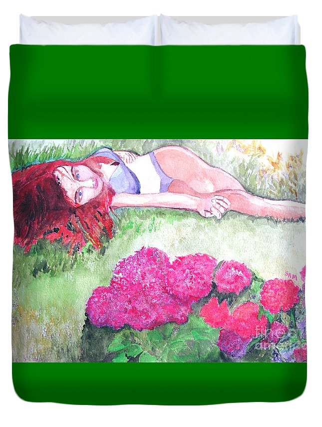 Flower Duvet Cover featuring the painting He's Gone by Sandy McIntire