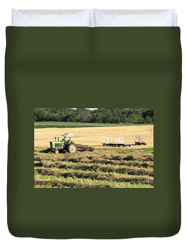 Agriculture Duvet Cover featuring the photograph Hey Hay by Alan Look