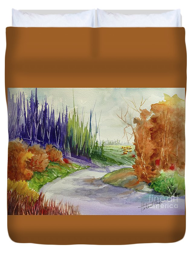 Painting Duvet Cover featuring the painting Hey, Hay Bales by Mohamed Hirji