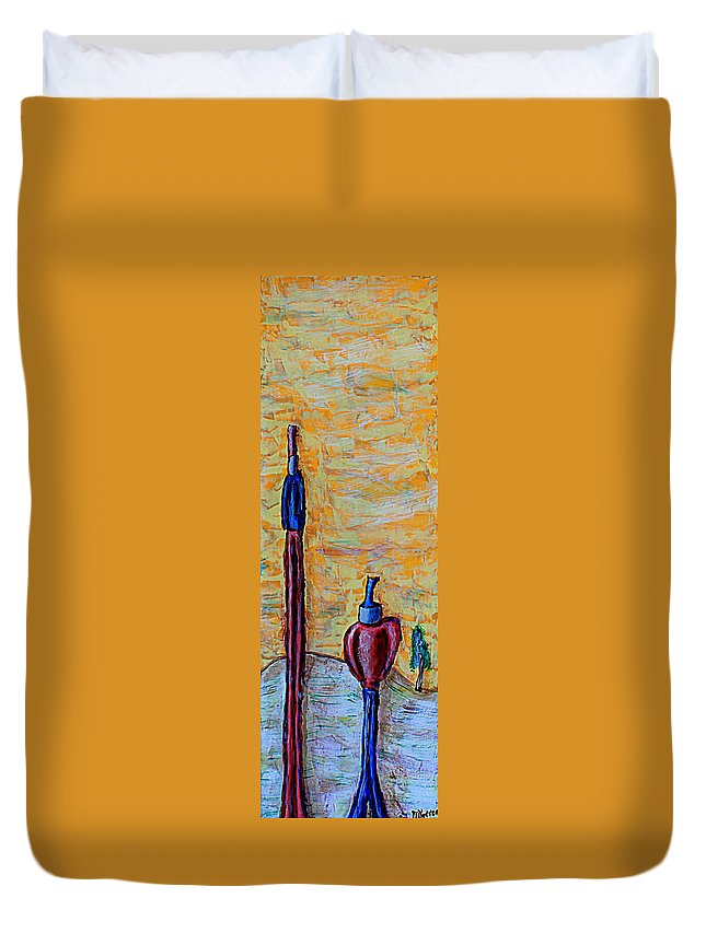 Sun Duvet Cover featuring the painting Hey Man, You're Kinda Blocking My Sun by Mario MJ Perron