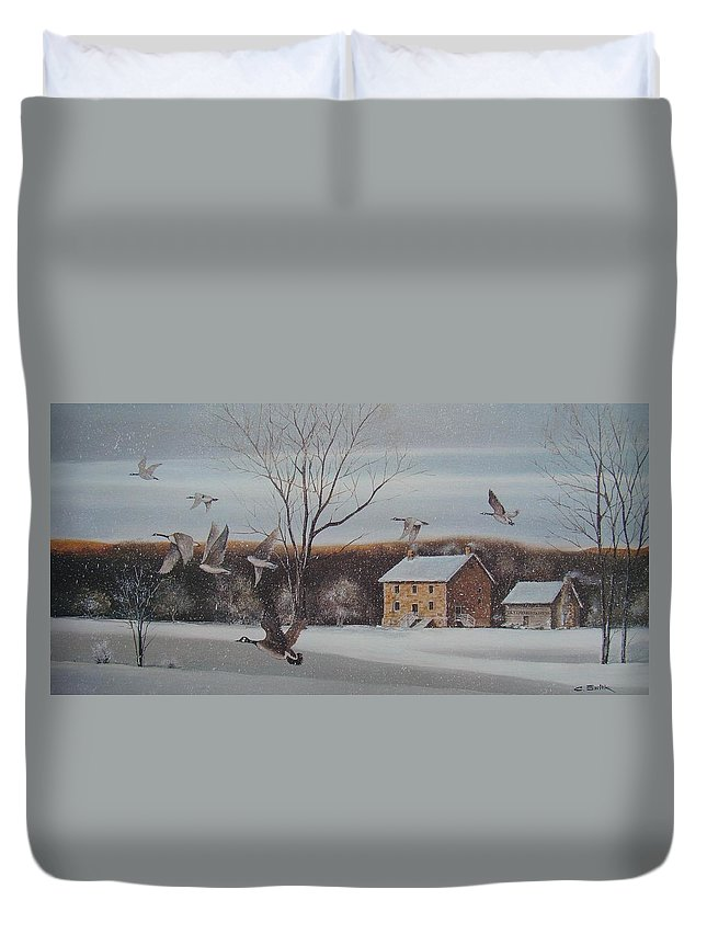 Charles Roy Smith Duvet Cover featuring the painting Hezakiah Alexander House by Charles Roy Smith
