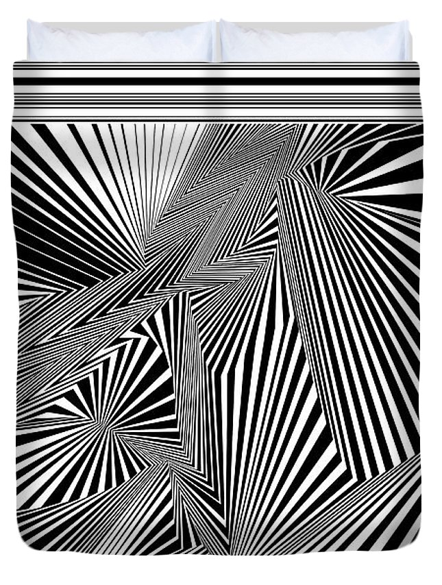 Dynamic Black And White Duvet Cover featuring the digital art Hguonewonk by Douglas Christian Larsen