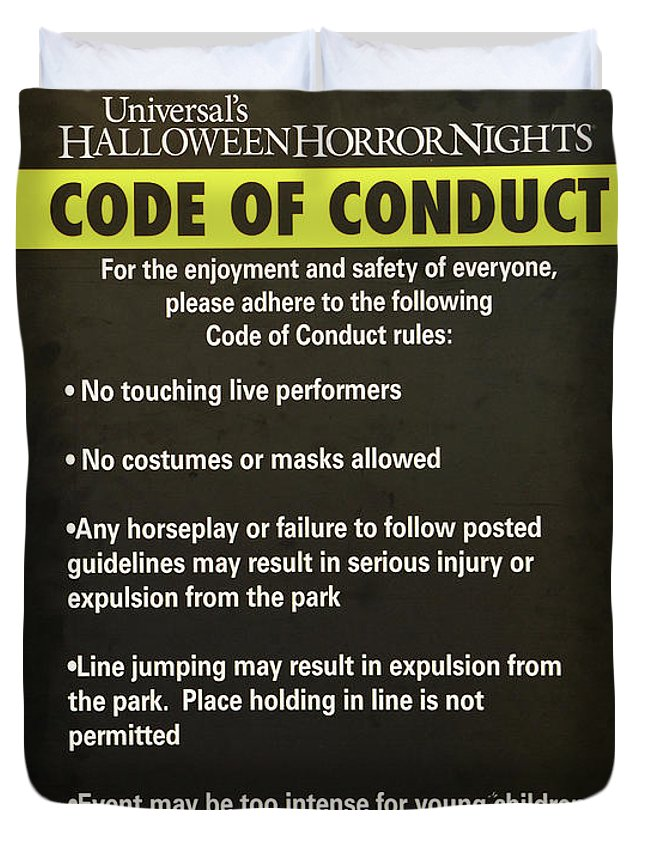halloween horror nights 26 duvet cover featuring the photograph hhn 26 code of conduct sign by