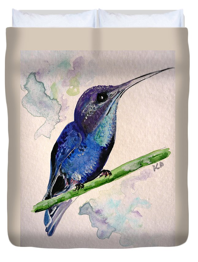 Hummingbird Painting Bird Painting Tropical Caribbean Painting Watercolor Painting Duvet Cover featuring the painting hHUMMINGBIRD 2  by Karin Dawn Kelshall- Best