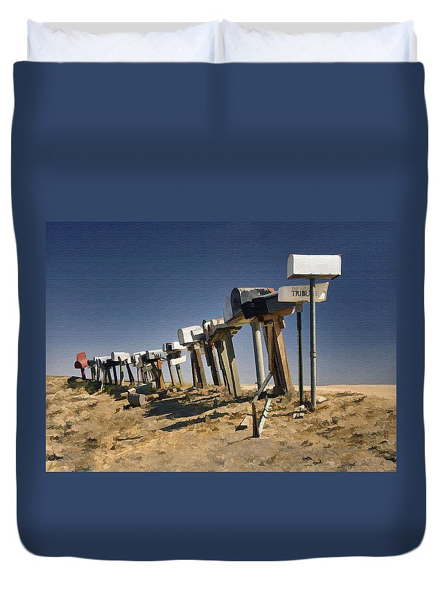 Mailboxes Duvet Cover featuring the photograph Hi-way 41 Mailboxes by Sharon Foster
