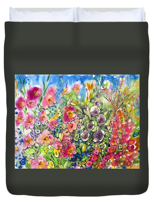 Hibiscus Duvet Cover featuring the painting Hibiscus And Friends by Shirley Sykes Bracken