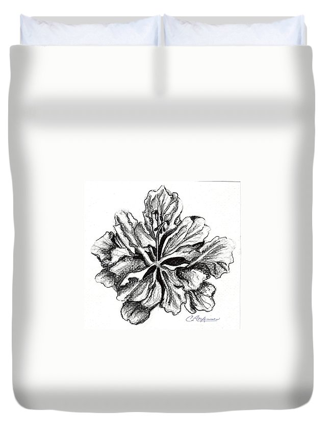 Hibiscus Duvet Cover featuring the drawing Hibiscus Bloom by Carol Allen Anfinsen