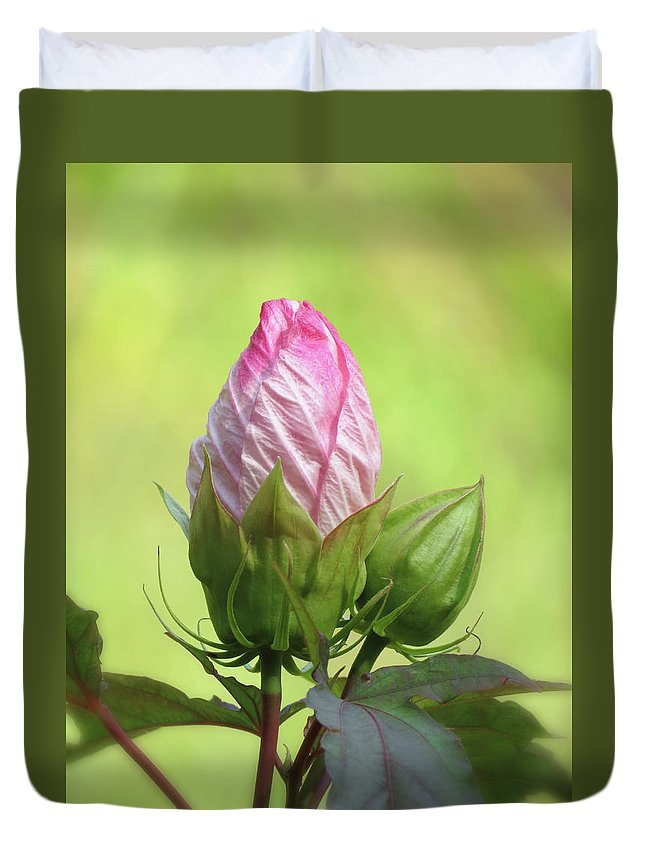 Hibiscus Duvet Cover featuring the photograph Hibiscus Bud Beauty by MTBobbins Photography