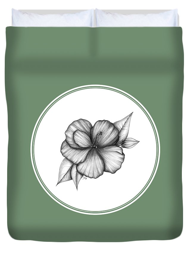 Flower Duvet Cover featuring the drawing Hibiscus I by Laura Teti
