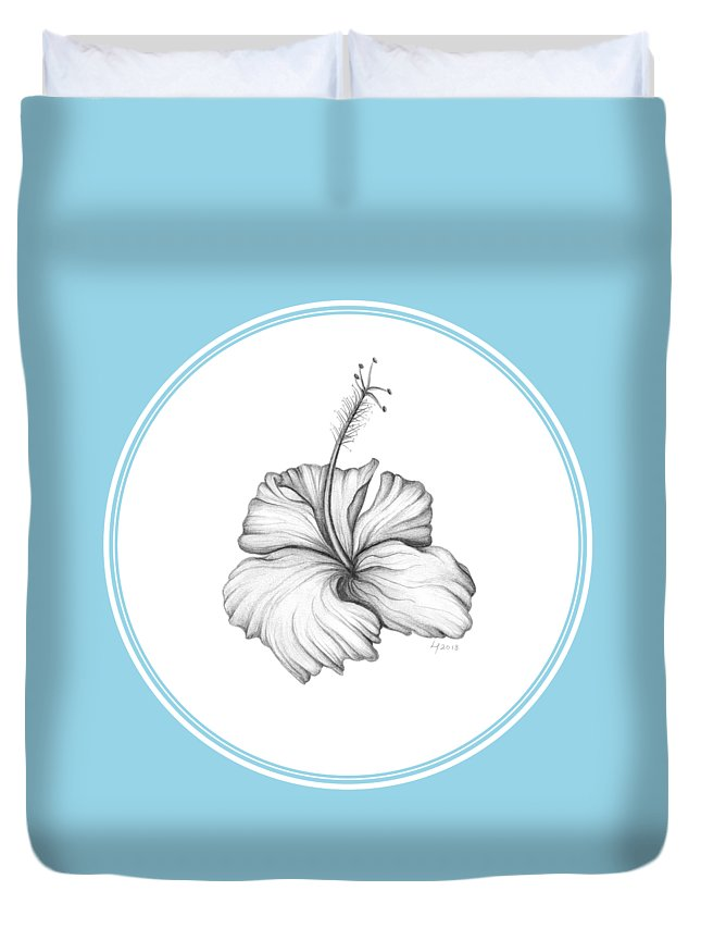 Flower Duvet Cover featuring the drawing Hibiscus II by Laura Teti