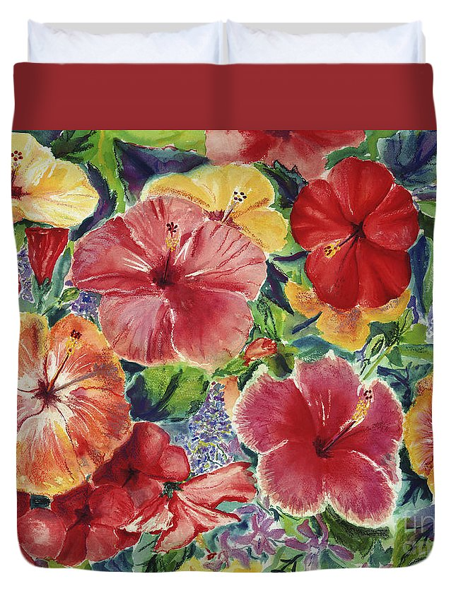Art Duvet Cover featuring the painting Hibiscus Impressions by Patti Bruce - Printscapes