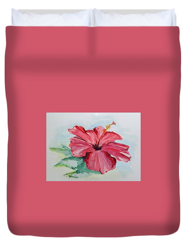 Flower Duvet Cover featuring the painting Hibiscus by Katrina Case