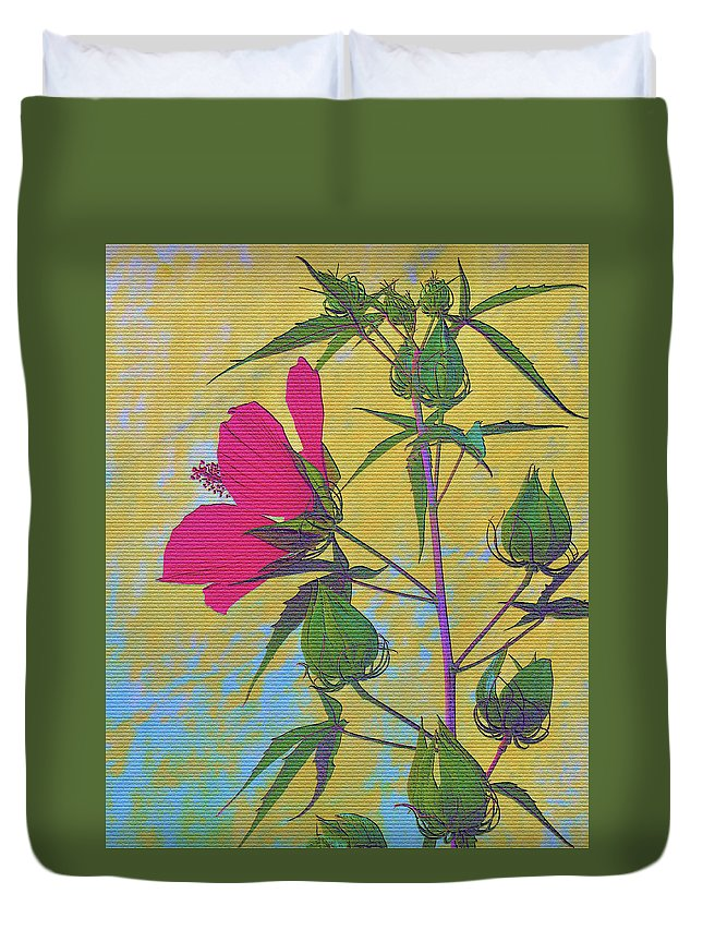 Hibiscus Duvet Cover featuring the photograph Hibiscus On Brick by Sally Falkenhagen