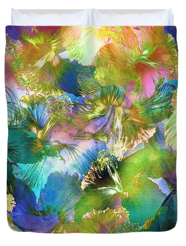 Abstract Duvet Cover featuring the digital art Hibiscus Trumpets by Klara Acel